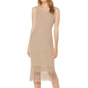 NWT Laundry Tan Crochet Fringe Sweater Midi Dress